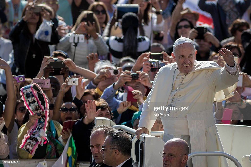 <a gi-track='captionPersonalityLinkClicked' href=/galleries/search?phrase=Pope+Francis&family=editorial&specificpeople=2499404 ng-click='$event.stopPropagation()'>Pope Francis</a> greets the faithful as he arrives to celebrate his Weekly General Audience in St. Peter's Square in Vatican City, Vatican on May 04, 2016. <a gi-track='captionPersonalityLinkClicked' href=/galleries/search?phrase=Pope+Francis&family=editorial&specificpeople=2499404 ng-click='$event.stopPropagation()'>Pope Francis</a> says God loves each and every one of us, He is totally extraneous to the throwaway culture of today and like the good shepherd he does not want a single person to be lost.