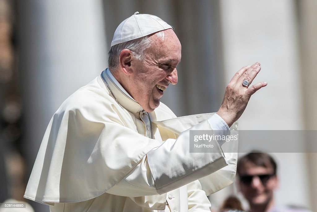 <a gi-track='captionPersonalityLinkClicked' href=/galleries/search?phrase=Pope+Francis&family=editorial&specificpeople=2499404 ng-click='$event.stopPropagation()'>Pope Francis</a> greets the faithful as he leaves at the end of his Weekly General Audience in St. Peter's Square in Vatican City, Vatican on May 04, 2016. <a gi-track='captionPersonalityLinkClicked' href=/galleries/search?phrase=Pope+Francis&family=editorial&specificpeople=2499404 ng-click='$event.stopPropagation()'>Pope Francis</a> says God loves each and every one of us, He is totally extraneous to the throwaway culture of today and like the good shepherd he does not want a single person to be lost.