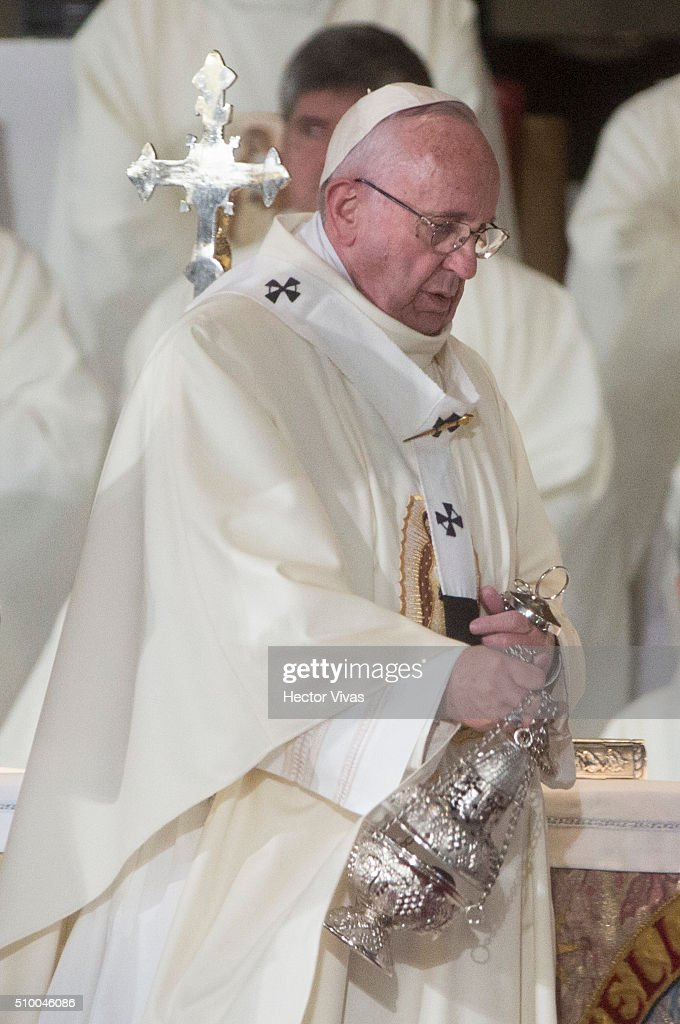 Pope Francis holds a censer during a mass for the people at Basilica de Guadalupe on February 13, 2016 in Mexico City, Mexico. Pope Francis is on a five days visit in Mexico from February 12 to 17 where he is expected to visit five states.