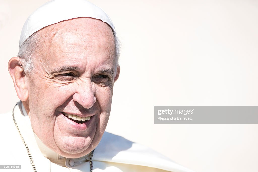 <a gi-track='captionPersonalityLinkClicked' href=/galleries/search?phrase=Pope+Francis&family=editorial&specificpeople=2499404 ng-click='$event.stopPropagation()'>Pope Francis</a> holds his General Weekly Audience in St. Peter's Square in Vatican City, Vatican.(Photo by Alessandra Benedetti/Corbis via Getty Images).