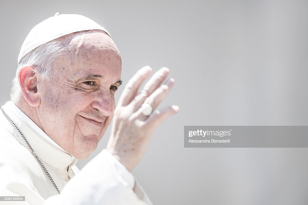 Pope Francis holds his General Weekly Audience in St. Peter's Square in Vatican City, Vatican.(Photo by Alessandra Benedetti/Corbis via Getty Images).