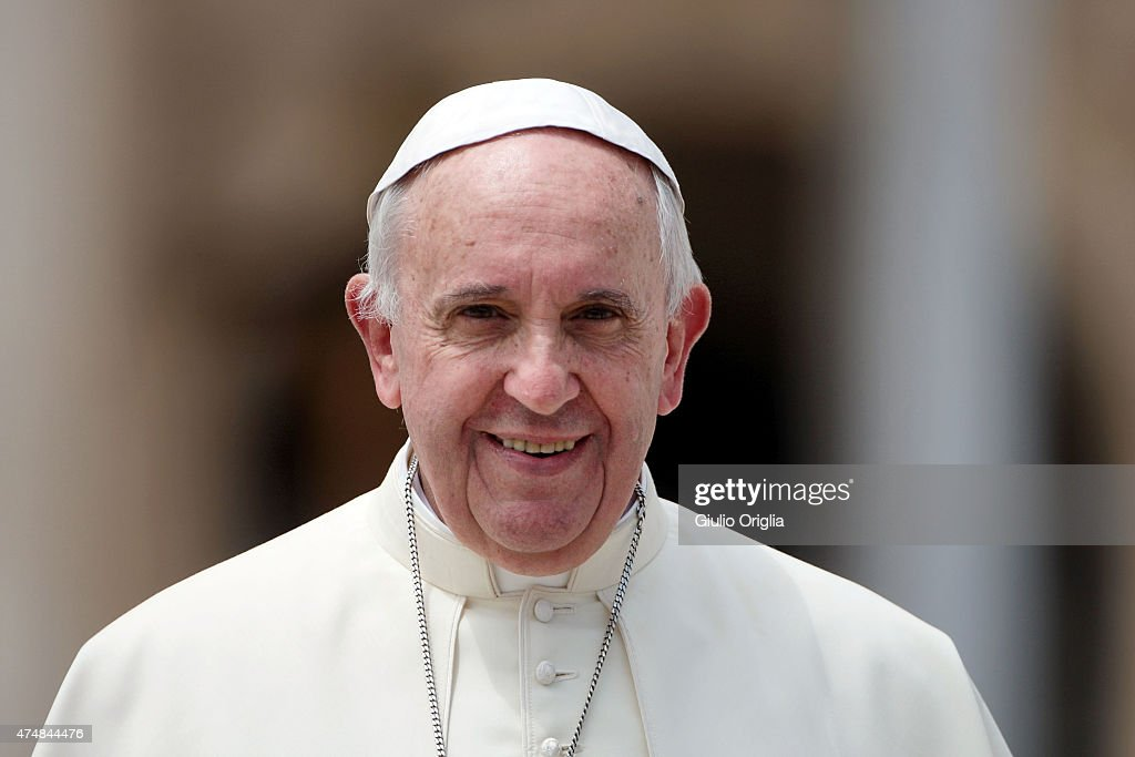 <a gi-track='captionPersonalityLinkClicked' href=/galleries/search?phrase=Pope+Francis&family=editorial&specificpeople=2499404 ng-click='$event.stopPropagation()'>Pope Francis</a> holds his weekly audience in St. Peter's Square on May 27, 2015 in Vatican City, Vatican. During his speech the Pontiff spoke to couples who are engaged to be married and told them not to be superficial as they prepare to enter into a life-long covenant of love.