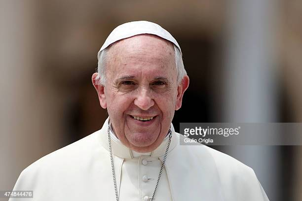 Pope Francis holds his weekly audience in St Peter's Square on May 27 2015 in Vatican City Vatican During his speech the Pontiff spoke to couples who...