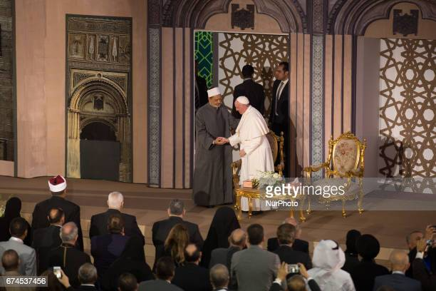 Pope Francis hugs Sheikh Ahmed elTayeb Grand Imam of AlAzhar the preeminent institute of Islamic learning in the Sunni Muslim world in Cairo Egypt...