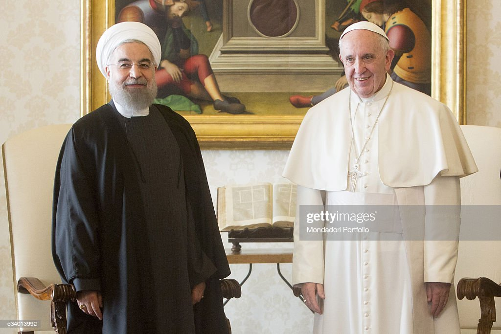 Pope Francis (Jorge Mario Bergoglio) in a private audience with the President of the Islamic Republic of Iran <a gi-track='captionPersonalityLinkClicked' href=/galleries/search?phrase=Hassan+Rouhani+-+Homme+politique&family=editorial&specificpeople=641593 ng-click='$event.stopPropagation()'>Hassan Rouhani</a> in the Private Library of the Apostolic Palace. Vatican City, 26th January 2016