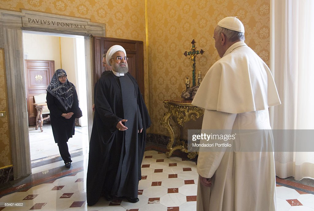 Pope Francis in a private audience with the President of the Islamic Republic of Iran Hassan Rouhani in the Private Library of the Apostolic Palace...
