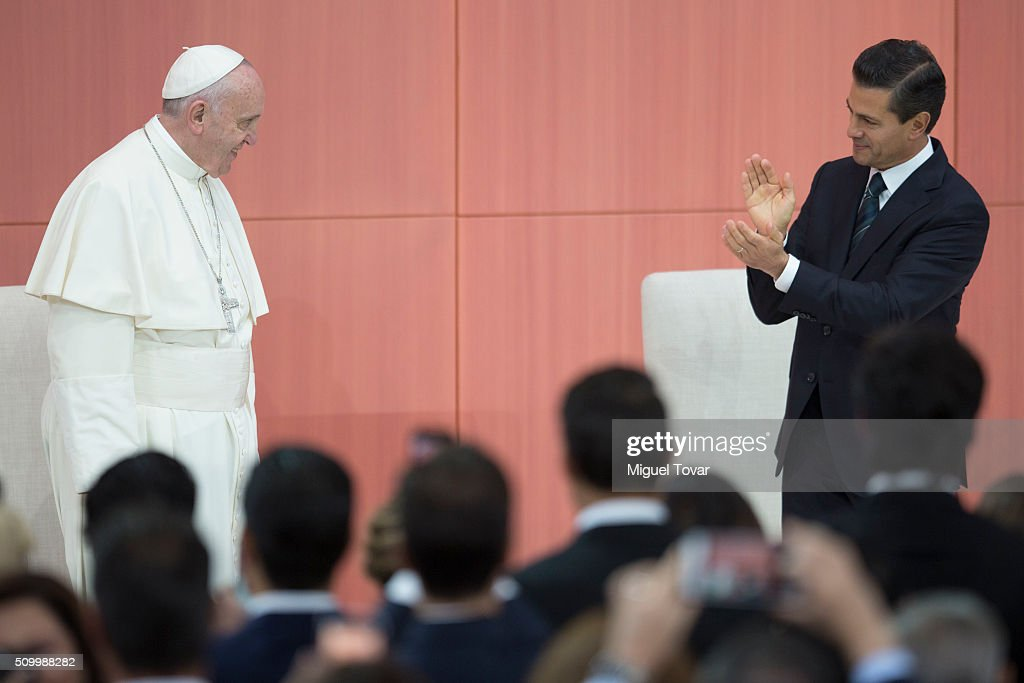 <a gi-track='captionPersonalityLinkClicked' href=/galleries/search?phrase=Pope+Francis&family=editorial&specificpeople=2499404 ng-click='$event.stopPropagation()'>Pope Francis</a> is received by Mexican President <a gi-track='captionPersonalityLinkClicked' href=/galleries/search?phrase=Enrique+Pena+Nieto&family=editorial&specificpeople=5957985 ng-click='$event.stopPropagation()'>Enrique Pena Nieto</a> during the welcome ceremony at Palacio Nacional on February 13, 2016 in Mexico City, Mexico. <a gi-track='captionPersonalityLinkClicked' href=/galleries/search?phrase=Pope+Francis&family=editorial&specificpeople=2499404 ng-click='$event.stopPropagation()'>Pope Francis</a> will be on a five days visit in Mexico from February 12 to 17 where he is expected to visit five states.