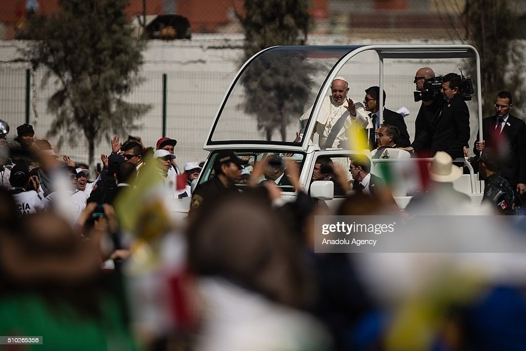 Pope Francis is seen arriving before the mass in Ecatepec in his Pastoral Visit to Mexico on February 14, 2016.