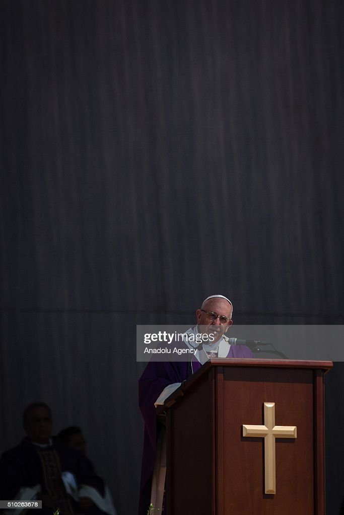 Pope Francis is seen in the mass in Ecatepec in his Pastoral Visit to Mexico in Ecatepec, Mexico on February 14, 2016.