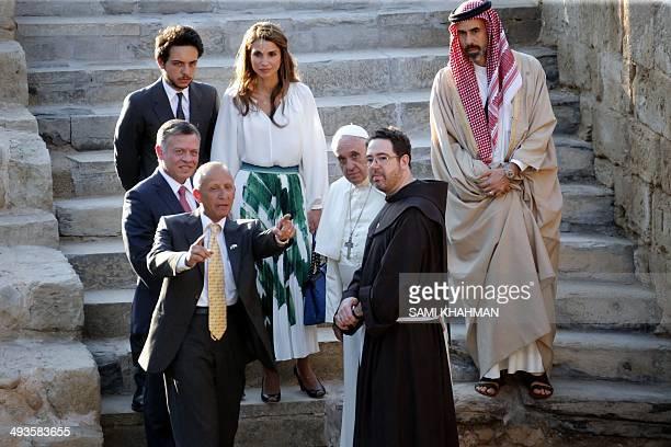 Pope Francis King Abdullah II of Jordan Queen Rania Jordan's Crown Prince Hussein and Ghazi bin Mohammed religious affairs adviser take part in a...