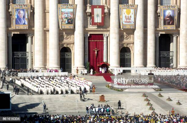 Pope Francis leads a canonisation ceremony on October 15 2017 in Vatican City Vatican During a solemn mass celebrated in St Peter's Square Pope...