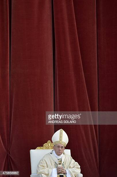 Pope Francis leads a mass at Saint John's Lateran Basilica in Rome on June 4 prior to the procession from Saint John's Lateran Basilica to the...