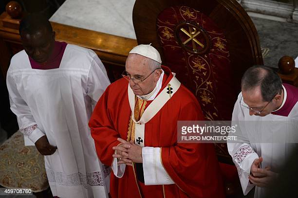 Pope Francis leads a mass at the cathedral of the Holy Spirit on November 29 2014 in Istanbul as part of a three day visit in Turkey The centrepiece...