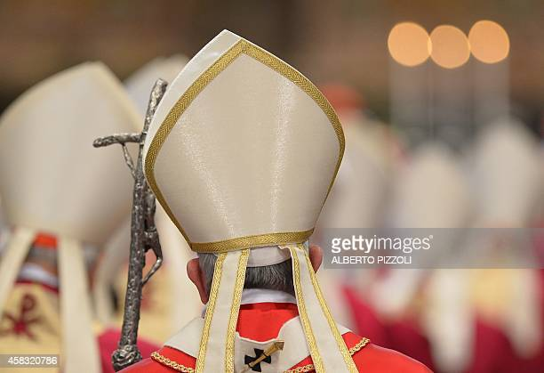 Pope Francis leads a mass for Cardinals and Bishops who died in the year at St Peter's basilica on November 3 2014 at the Vatican AFP PHOTO / ALBERTO...
