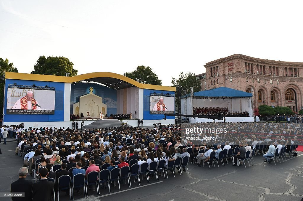 Pope Francis leads a mass named 'Ecumenical Service and Peace Prayer' during his visit at Republic Square in Yerevan, Armenia on June 25, 2016.