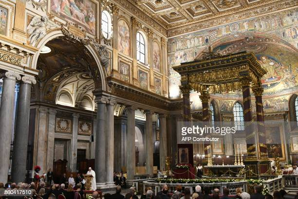 Pope Francis leads a mass on the occasion of the Centenary of the Congregation for Oriental Churches on October 12 2017 at the Santa Maria Maggiore...