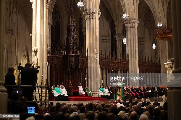 Pope Francis leads a service at St Patrick's Cathedral on September 24 2015 in New York City Pope Francis is in New York on a two day visit and will...
