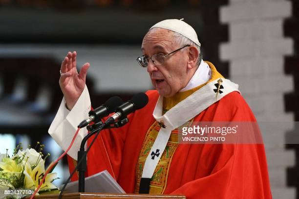 Pope Francis leads mass at the St Mary's Cathedral in Yangon on November 30 2017 The 'moral authority' of Pope Francis is undiminished despite his...