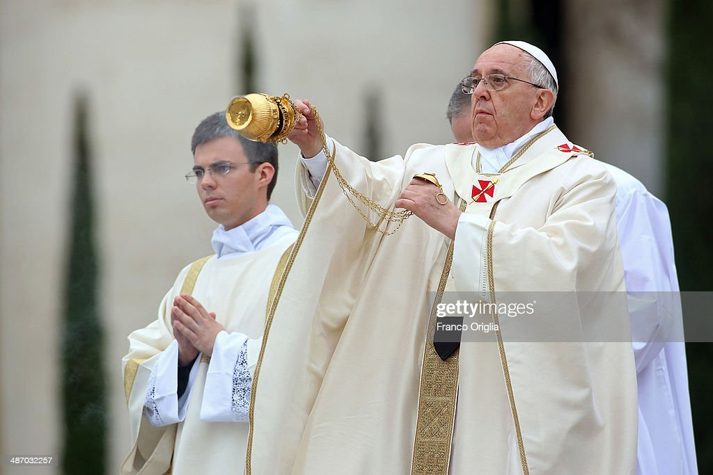 Pope Francis leads the Canonisation Mass in which John Paul II and John XXIII are to be declared saints on April 27, 2014 in Vatican City, Vatican. Dignitaries, heads of state and Royals from Europe and across the World are to attend the canonisations.
