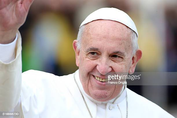 Pope Francis leads the Palm Sunday Mass at St Peter's Square on March 20 2016 in Vatican City Vatican Pope Francis on Sunday presided at the...