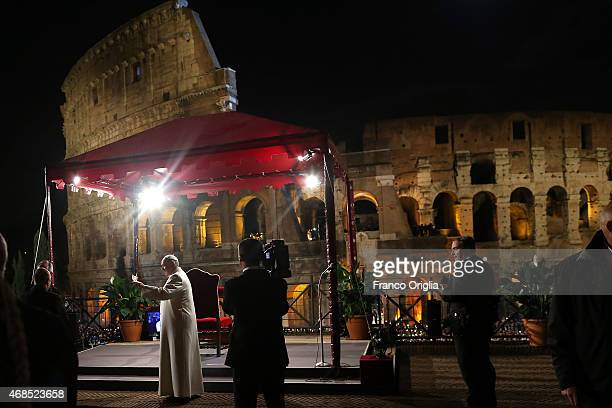 Pope Francis leads the Way of The Cross at the Colosseum on April 3 2015 in Rome Italy The Way of the Cross is a centuriesold and much beloved...
