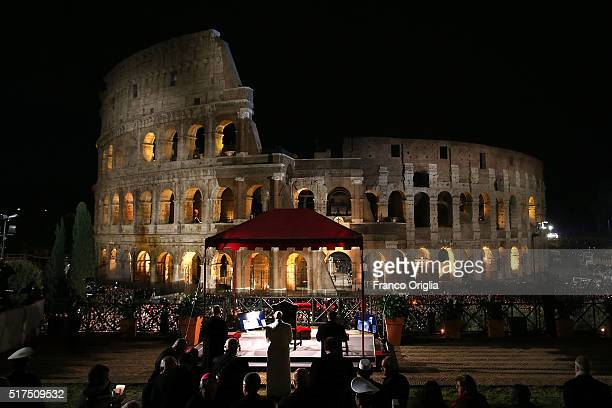 Pope Francis leads the Way of The Cross at the Colosseum on March 25 2016 in Vatican City Vatican The Way of the Cross is a centuriesold and much...