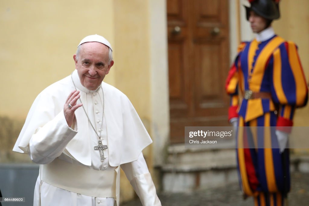 Pope Francis leaves after the meeting with Prince Charles, Prince of Wales and Camilla, Duchess of Cornwall on April 4, 2017 in Vatican City, Vatican.