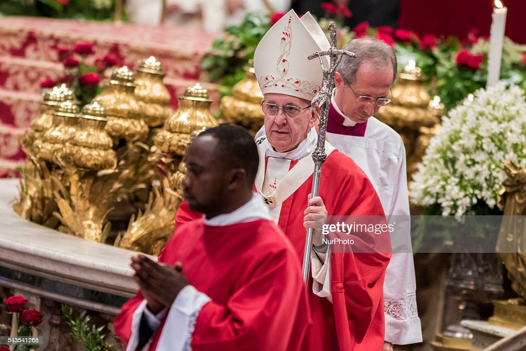 <a gi-track='captionPersonalityLinkClicked' href=/galleries/search?phrase=Pope+Francis&family=editorial&specificpeople=2499404 ng-click='$event.stopPropagation()'>Pope Francis</a> leaves at the end of the Holy Mass with the imposition of the Pallium upon the new Metropolitan Archbishops during the Solemnity of Saints Peter and Paul at St. Peter's Basilica in Vatican City, Vatican on June 29, 2016. The pallium, a woolen shawl symbolizing the bond beetween Metropolitan Archbishops and the Pope, is an ecclesiastical vestment in the Catholic Church.