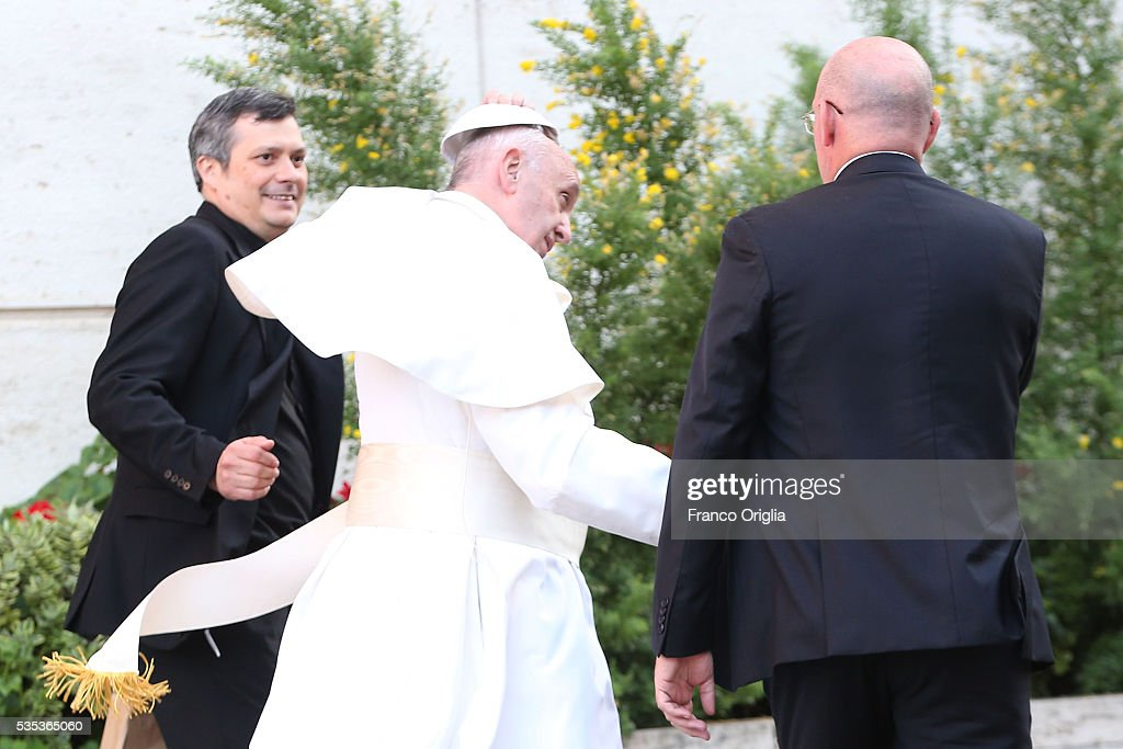 <a gi-track='captionPersonalityLinkClicked' href=/galleries/search?phrase=Pope+Francis&family=editorial&specificpeople=2499404 ng-click='$event.stopPropagation()'>Pope Francis</a> leaves at the end of 'Un Muro o Un Ponte' Seminary held by <a gi-track='captionPersonalityLinkClicked' href=/galleries/search?phrase=Pope+Francis&family=editorial&specificpeople=2499404 ng-click='$event.stopPropagation()'>Pope Francis</a> at the Paul VI Hall on May 29, 2016 in Vatican City, Vatican.
