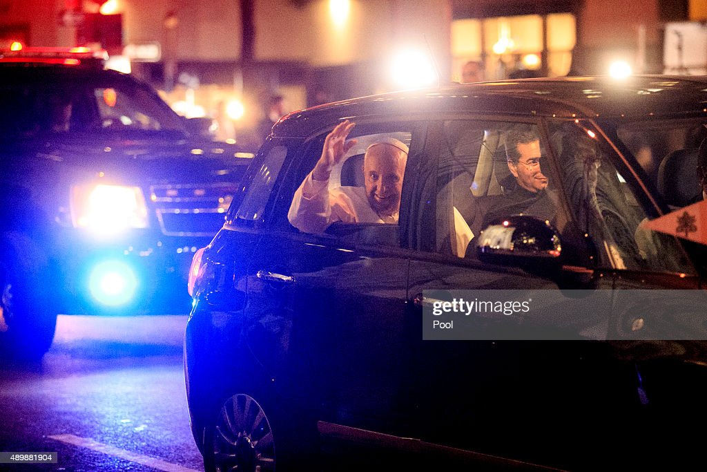 Pope Francis leaves St Patrick's Cathedral in a Fiat 500L on September 24 2015 in New York City The pope is on a sixday visit to the US with stops in...