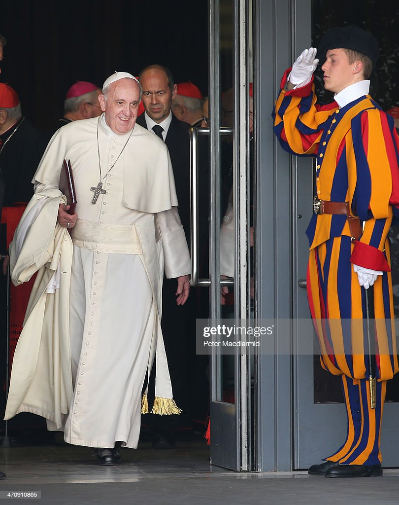 Pope Francis leaves the Extraordinary Consistory on February 21, 2014 in Vatican City, Vatican. Pope Francis will create 19 new cardinals in a ceremony tomorrow in St Peter's Basilica.