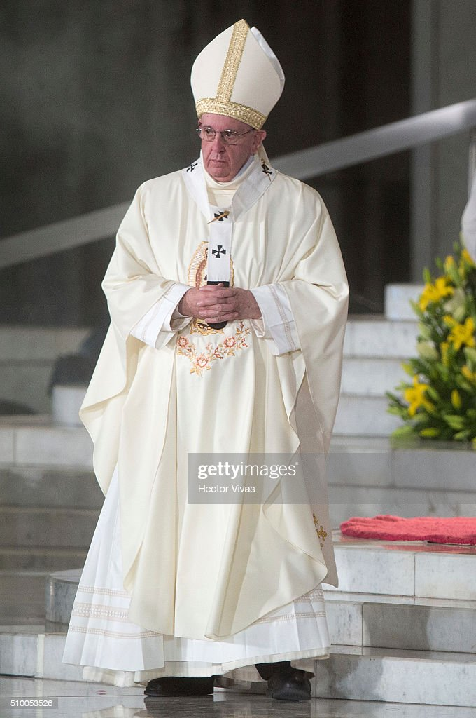 <a gi-track='captionPersonalityLinkClicked' href=/galleries/search?phrase=Pope+Francis&family=editorial&specificpeople=2499404 ng-click='$event.stopPropagation()'>Pope Francis</a> looks on during a mass for the people at Basilica de Guadalupe on February 13, 2016 in Mexico City, Mexico. <a gi-track='captionPersonalityLinkClicked' href=/galleries/search?phrase=Pope+Francis&family=editorial&specificpeople=2499404 ng-click='$event.stopPropagation()'>Pope Francis</a> is on a five days visit in Mexico from February 12 to 17 where he is expected to visit five states.