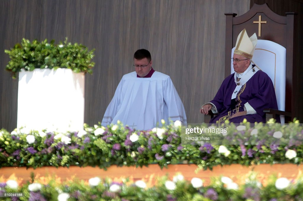 <a gi-track='captionPersonalityLinkClicked' href=/galleries/search?phrase=Pope+Francis&family=editorial&specificpeople=2499404 ng-click='$event.stopPropagation()'>Pope Francis</a> looks on during a mass for the people at El Caracol on February 14, 2016 in Ecatepec, Mexico. <a gi-track='captionPersonalityLinkClicked' href=/galleries/search?phrase=Pope+Francis&family=editorial&specificpeople=2499404 ng-click='$event.stopPropagation()'>Pope Francis</a> is on a five-day visit in Mexico from February 12 to 17 where he is expected to visit five states.