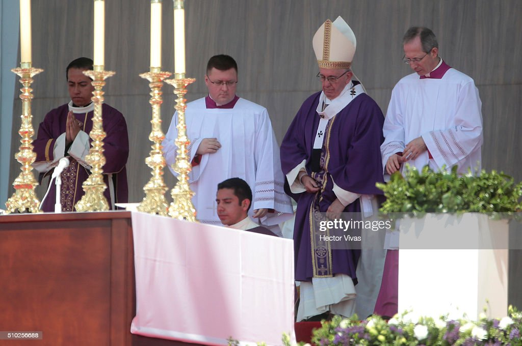 <a gi-track='captionPersonalityLinkClicked' href=/galleries/search?phrase=Pope+Francis&family=editorial&specificpeople=2499404 ng-click='$event.stopPropagation()'>Pope Francis</a> looks on during a mass for the people at Ecatepec on February 14, 2016 in Ecatepec, Mexico. <a gi-track='captionPersonalityLinkClicked' href=/galleries/search?phrase=Pope+Francis&family=editorial&specificpeople=2499404 ng-click='$event.stopPropagation()'>Pope Francis</a> is on a five days visit in Mexico from February 12 to 17 where he is expected to visit five states.