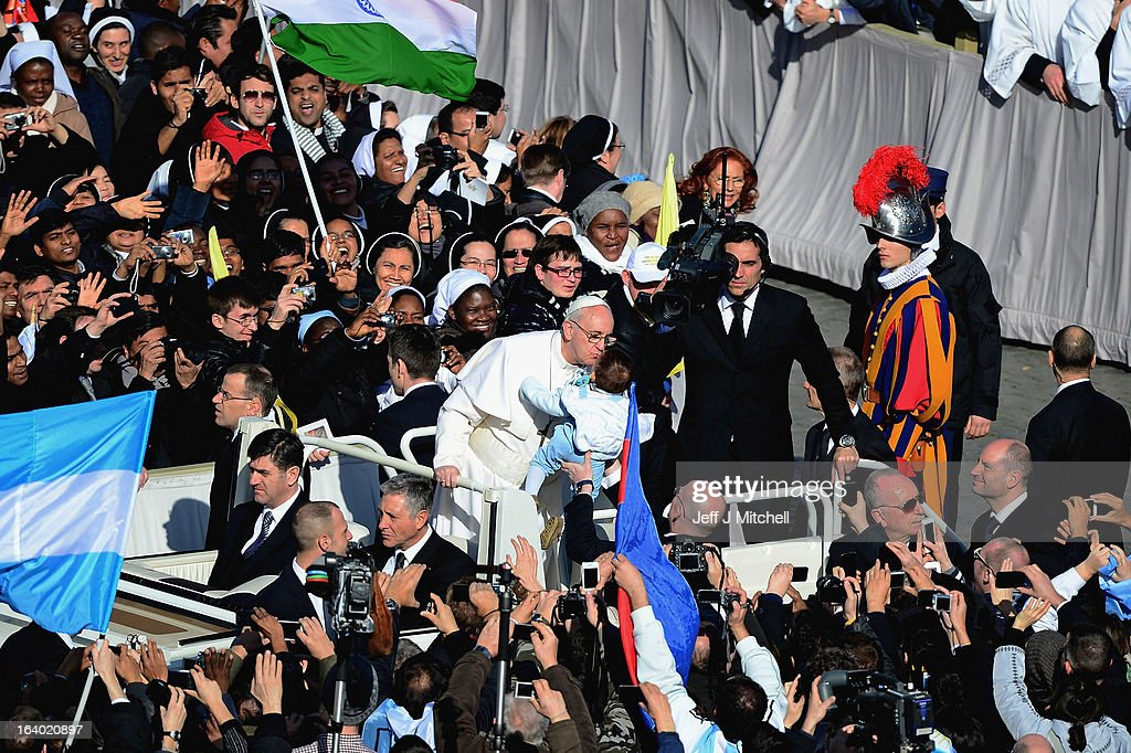 Pope Francis makes his way around St Peter's Square on March 19, 2013 in Vatican City, Vatican. The inauguration of Pope Francis is being held in front of an expected crowd of up to one million pilgrims and faithful who have crowded into St Peter's Square and the surrounding streets to see the former Cardinal of Buenos Aires officially take up his position. Pope Francis' inauguration takes place in front his cardinals, spiritual leaders as well as heads of states from around the world and he will now lead an estimated 1.3 billion Catholics.