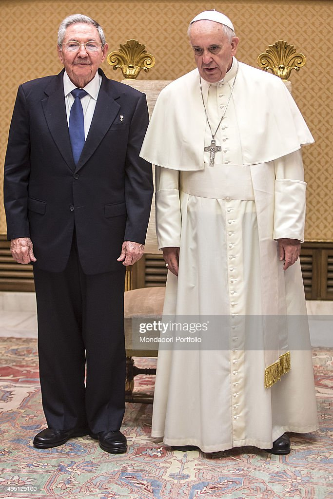 <a gi-track='captionPersonalityLinkClicked' href=/galleries/search?phrase=Pope+Francis&family=editorial&specificpeople=2499404 ng-click='$event.stopPropagation()'>Pope Francis</a> (Jorge Mario Bergoglio) meeting Raul Castro, President of the Council of State and Ministers of Cuba, in the private study of Aula Paolo VI. Vatican City, 10th May 2015