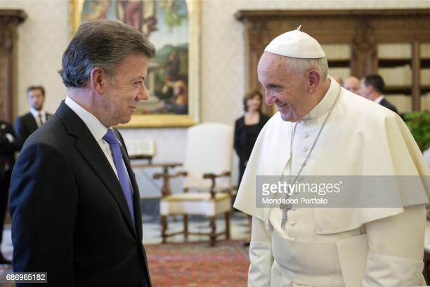 Pope Francis meeting the President of Colombia Juan Manuel Santos future Nobel Peace Prize winner in 2016 in the Private Library of the Apostolic...