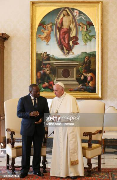 Pope Francis meeting the the President of the Democratic Republic of the Congo Joseph Kabila in the Private Library of the Apostolic Palace Vatican...