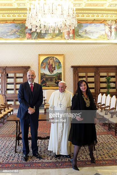 Pope Francis meets Albanian Prime Minister Edi Rama and his wife Lindita Rama at the Pontiff's private library in the Apostolic Palace on April 24...