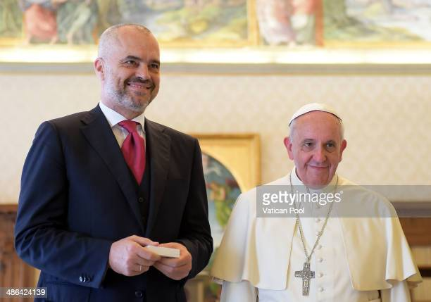 Pope Francis meets Albanian Prime Minister Edi Rama at his private library in the Apostolic Palace on April 24 2014 in Vatican City Vatican