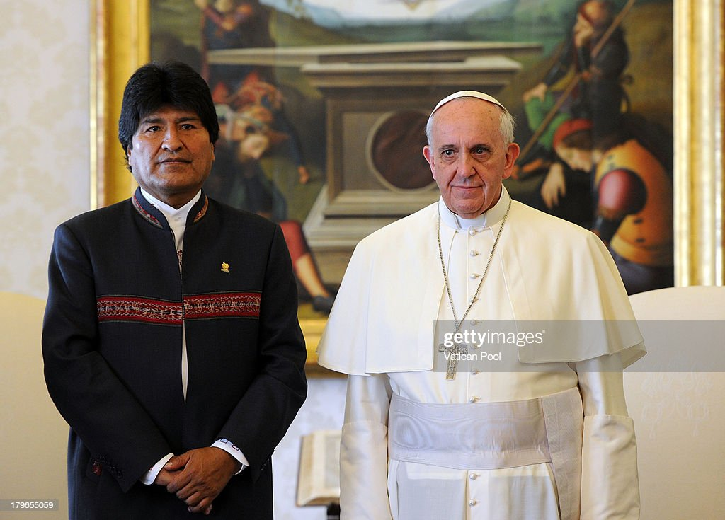 Pope Francis meets Bolivia President <a gi-track='captionPersonalityLinkClicked' href=/galleries/search?phrase=Evo+Morales&family=editorial&specificpeople=272981 ng-click='$event.stopPropagation()'>Evo Morales</a> during an audience at his private library on September 6, 2013 in Vatican City, Vatican. The colloquial discussions focused on the socio-economic and religious situation of the country, and matters such as the fight against social inequality and poverty.