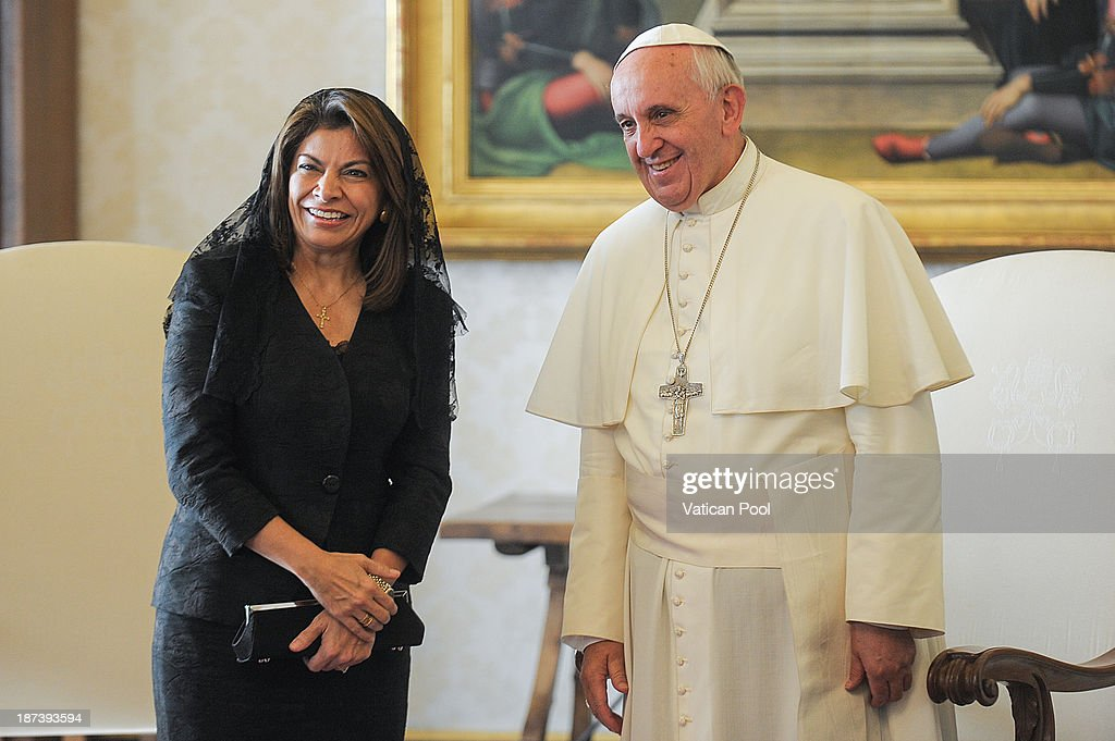 Pope Francis meets Costa Rica President <a gi-track='captionPersonalityLinkClicked' href=/galleries/search?phrase=Laura+Chinchilla&family=editorial&specificpeople=646370 ng-click='$event.stopPropagation()'>Laura Chinchilla</a> at his private library on November 8, 2013 in Vatican City, Vatican. During the cordial discussions, mention was made of the collaboration between Church and State in facing certain social issues, and the common attention of the Parties to various themes such as the defence of life and the protection of the environment.