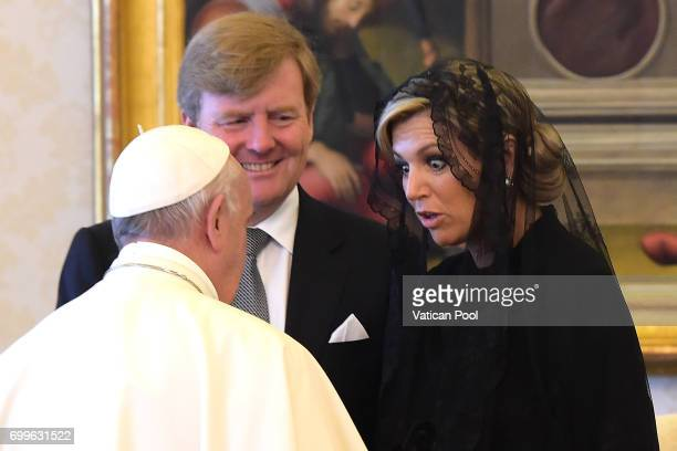 Pope Francis meets Dutch King WillemAlexander and Queen Maxima at the Apostolic Palace on June 22 2017 in Vatican City Vatican After the audience...