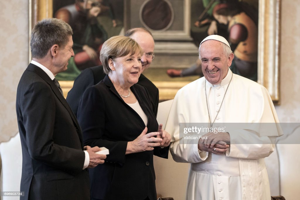 Pope Francis meets German Chancellor Angela Merkel at his private library in the Apostolic Palace on June 17, 2017 in Vatican City, Vatican. During the meeting Issues of common interest were addressed, with special regard for the upcoming G20 meeting in Hamburg, and the parties agreed on the need to dedicate special attention to the responsibility of the international community in combating poverty and hunger, the global threat of terrorism, and climate change.
