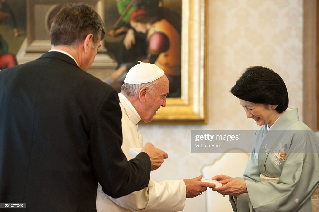 Pope Francis meets Japan Prince Akishino on May 12, 2016 in Vatican City, Vatican.