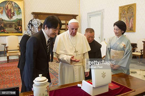 Pope Francis meets Japan Prince Akishino on May 12 2016 in Vatican City Vatican