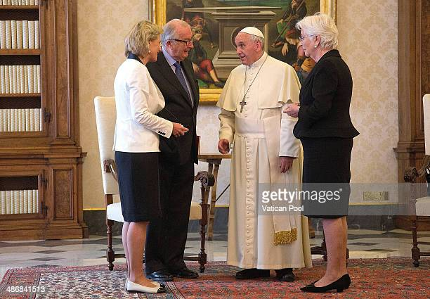 Pope Francis meets King Albert II and Queen Paola of Belgium at his private library in the Apostolic Palace on April 26 2014 in Vatican City Vatican...
