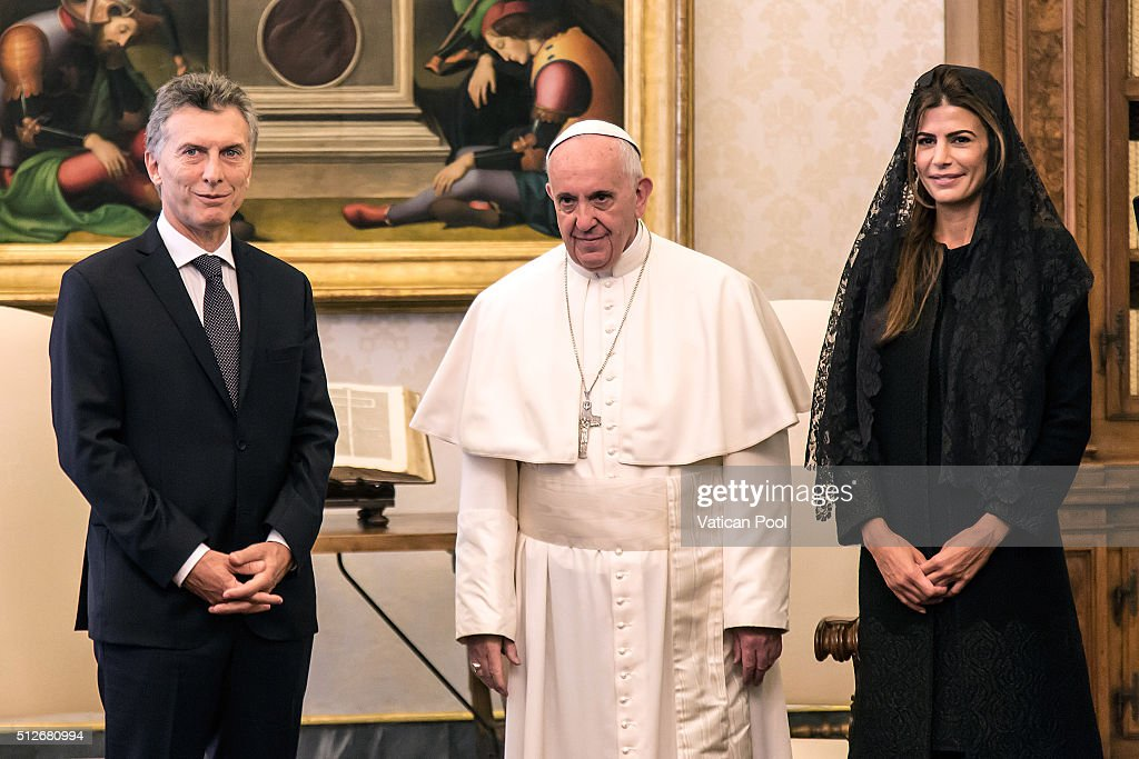 Pope Francis meets new President of Argentina Mauricio Macri and his wife Juliana Awada at the Apostolic Palace on February 27 2016 in Vatican City...