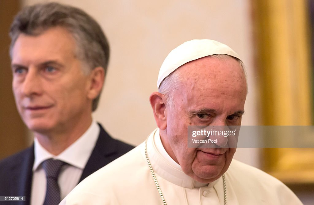 Pope Francis meets new President of Argentina Mauricio Macri at the Apostolic Palace on February 27 2016 in Vatican City Vatican During the encounter...