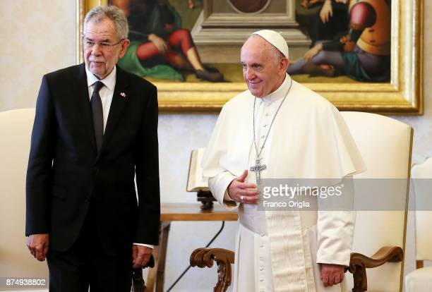 Pope Francis meets new President of Austria Alexander Van Der Bellen at the Apostolic Palace on November 16 2017 in Vatican City Vatican The Vatican...